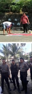 A plainclothes policeman removes the Morning Star, 9 November 2017 (top);  Police visit Cenderawasih V , 16 November 2017 (bottom)