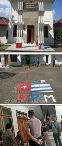 Front entryway (top) and courtyard (middle) of Cenderawasih V depicting Morning Star before police visited on 19 September 2017; Hiskia Meage, Head of KNPB Manado, surrounded by police on 9 November 2017 (bottom)